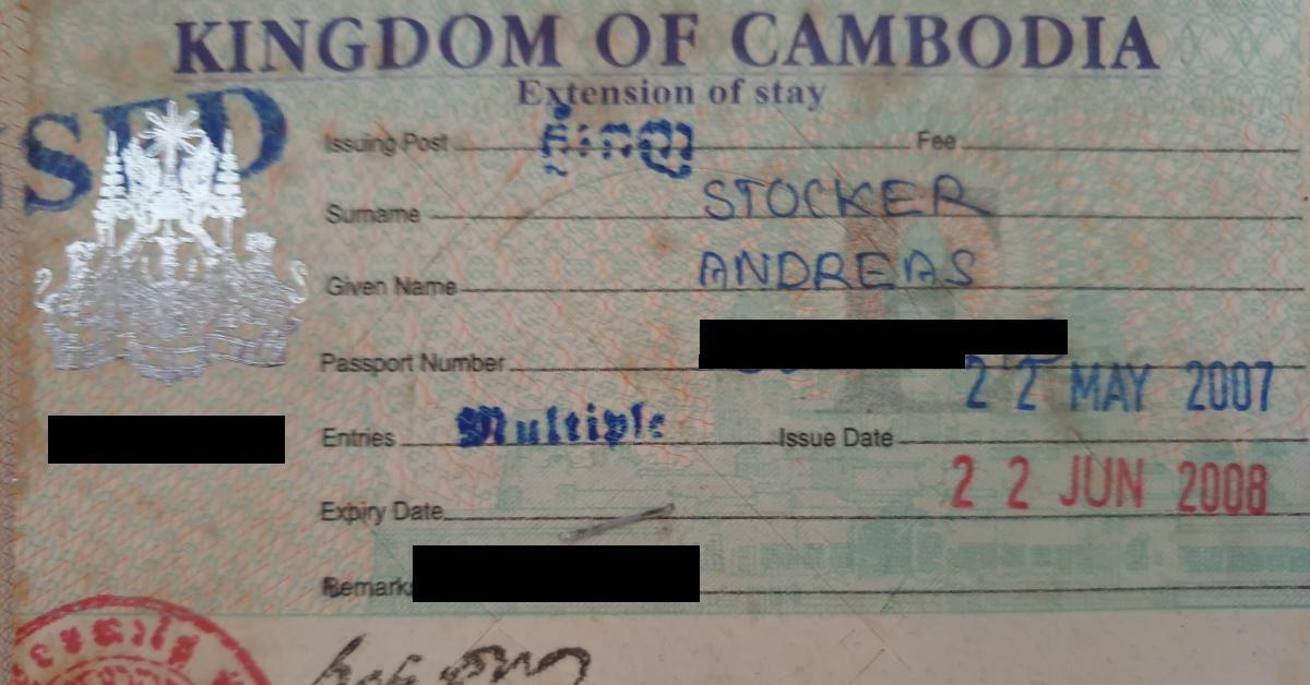 Mein erstes Kambodscha Business-Visum für 1 Jahr.