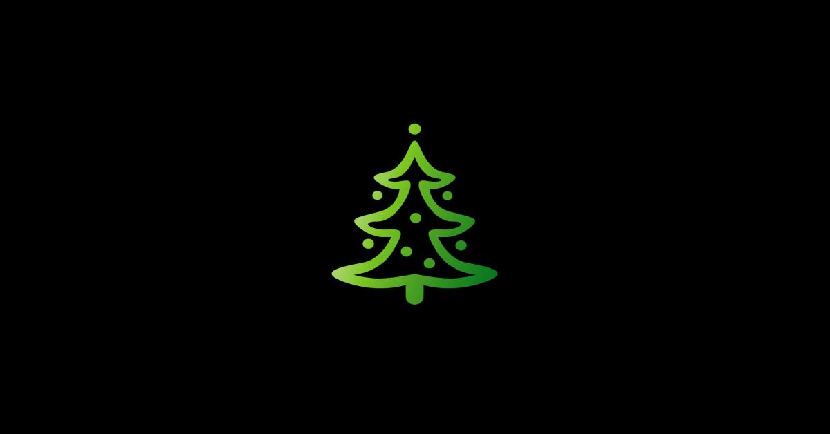 Grüner Weihnachtsbaum auf schwarzem Hintergrund